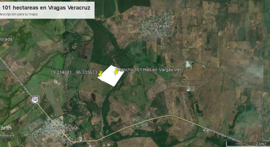 EN VENTA RANCHO DE 101 HECTAREAS EN VARGAS VERACRUZ