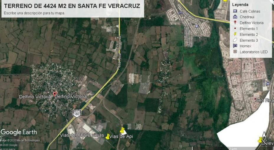 TERRENO DE 4424 METROS  EN SANTA FE VERACRUZ, CERCA DEL PUERTO